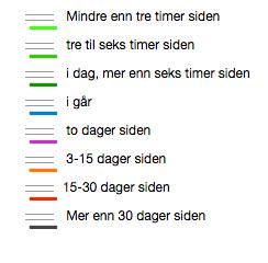 Klikk på menysymbolet på kartet for å sjå fargekoder